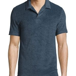 Theory Small Willem Terry Polo Shirt Blue